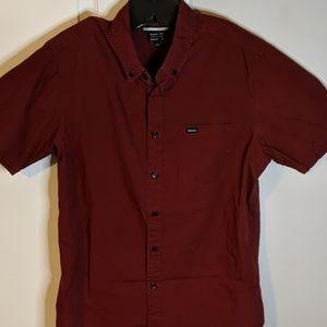 RVCA medium regular maroon short sleeve shirt